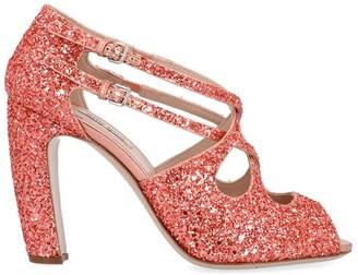 Miu Miu Glittered Strap Detail Heeled Sandals