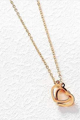 Rosegold Lets Accessorize Rose-Gold Double-Heart Necklace