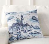 Pottery Barn Lighthouse Print Reverse Stripe Pillow Cover