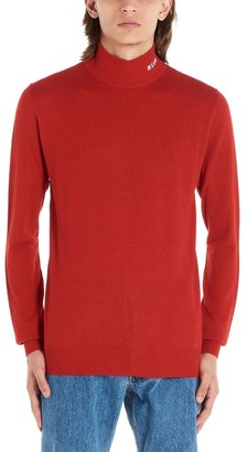 MSGM Embroidered Logo Turtleneck Knitted Sweater