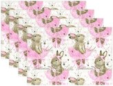 "WOZO Funny Bunny Rabbit Girl Pink Placemat Table Mat, Easter Plaid 12"" x 18"" Polyester Table Place Mat for Kitchen Dining Room Set of 4"
