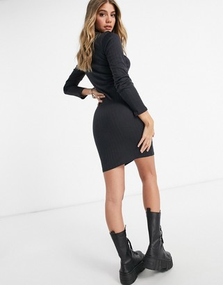 Brave Soul high neck ribbed jersey dress in slate