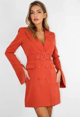 Missguided Belted Flare Sleeve Blazer Dress