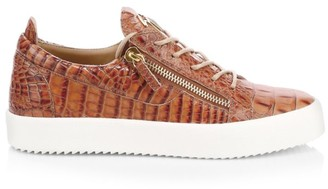 Giuseppe Zanotti Croc-Embossed Leather Sneakers