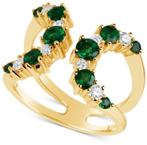 Macy's Emerald (9/10 ct. t.w.) & Diamond (1/3 ct. t.w.) Open Cuff Ring in 14k Gold, Also available in Ruby (1-1/4 ct.t.w.)