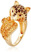Sterling Silver with Gold Plating Smokey Quartz, Citrine and Garnet Fox Ring, Size 7