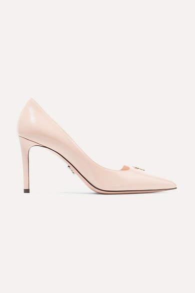 Prada Logo-appliquéd Textured-leather Pumps - Pastel pink