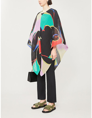Pleats Please Issey Miyake Relaxing abstract-print pleated woven top