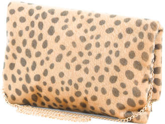 Foldover Faux Haircalf Cheetah Clutch Crossbody