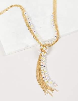 Lane Bryant Pearlescent Knotted Tassel Necklace