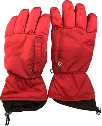 Prada Red Polyester Gloves