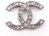 Chanel Gunmetal CC Crystal Star Pattern Brooch