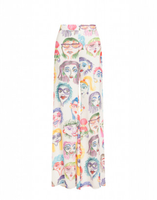 Moschino Faces Georgette Trousers Woman White Size 40 It - (6 Us)