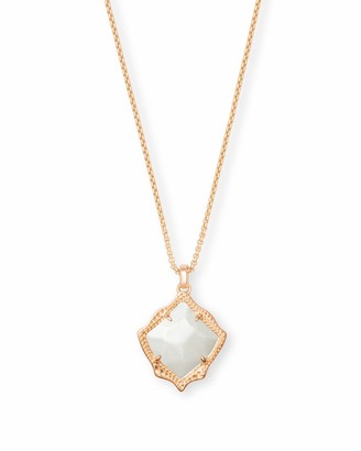 Kendra Scott Kacey Rose Gold Long Pendant Necklace in Ivory Pearl