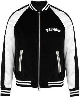 Balmain Monochrome logo-appliqued velvet bomber jacket