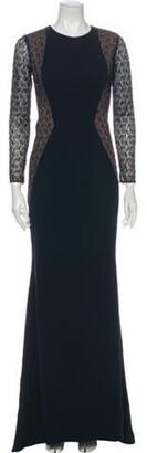 Carmen Marc Valvo Crew Neck Long Dress w/ Tags Blue