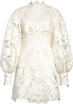 Zimmermann Wavelength Ikat Broderie Anglaise Long Sleeve Minidress