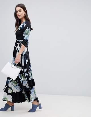 Liquorish large floral print maxi wrap dress-Black