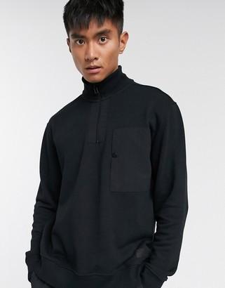 Topman half zip jumper in black