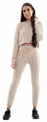 MIXLOT Womens Ladies Cable Knitted Casual Crop Top Baggy Warm 2pc Loungewear Set Suit (Stone Large)