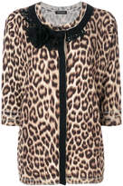 Twin-Set embellished leopard print cardigan round neck