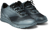 Lanvin - Spray Paint-effect Mesh And Leather Sneakers