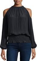 Ramy Brook Lauren Cold-Shoulder Smocked-Waist Top