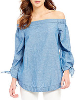 Free People Show Some Shoulder Off-the-Shoulder Chambray Tunic