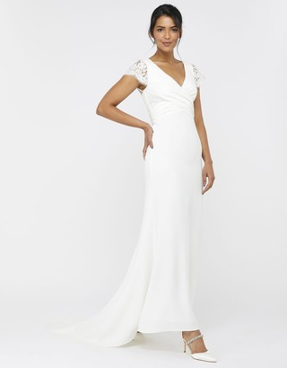 Under Armour Leonora Bridal Crepe Lace Maxi Dress Ivory