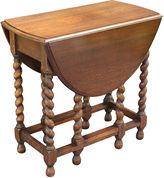 One Kings Lane Vintage Antique Oak Gate-Leg Twist Table