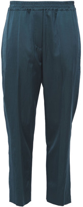 Brunello Cucinelli Gathered Sateen Tapered Pants