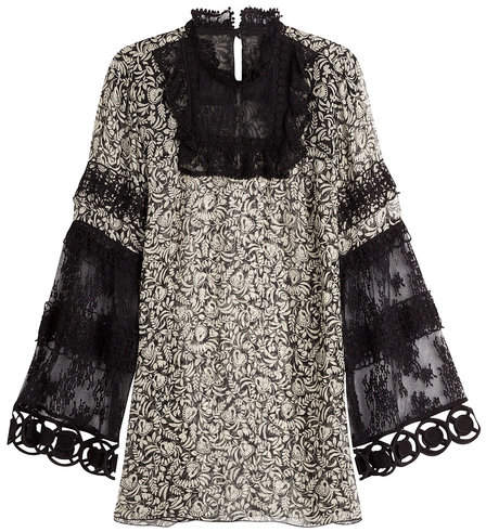 Anna Sui Printed Silk Tunic with Lace