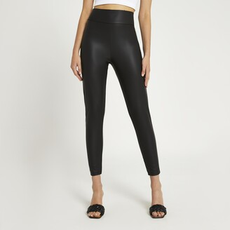 River Island Womens Black high waist matte coated leggings
