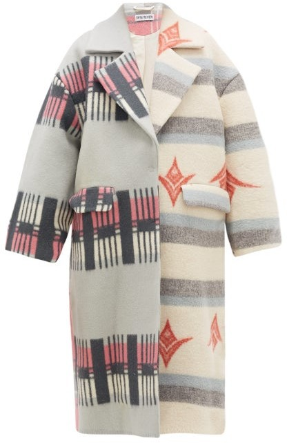 Rave Review Lea Single-breasted Upcycled-blanket Wool Coat - Multi