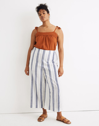 Madewell Linen-Cotton Huston Pull-On Crop Pants in Herringbone Stripe