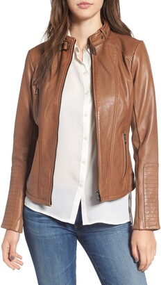 Bernardo Zip Front Leather Biker Jacket