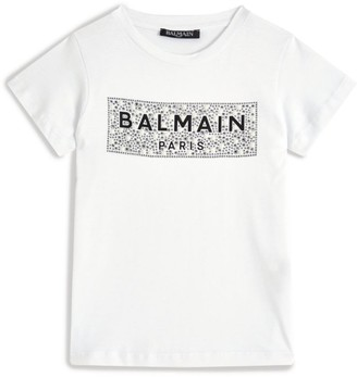 Balmain Kids Gem-Embellished Logo T-Shirt