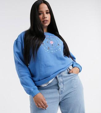 Daisy Street Plus oversized sweatshirt with astrology grpahic
