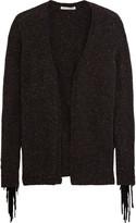 Autumn Cashmere Fringed suede-trimmed cashmere cardigan