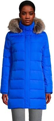 Lands' End Women's Faux-Fur Hood Winter Long Down Coat