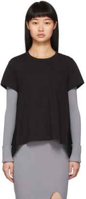 Sacai Black Poplin Drape T-Shirt