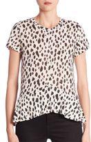Proenza Schouler Cheetah-Print Cotton Peplum Top