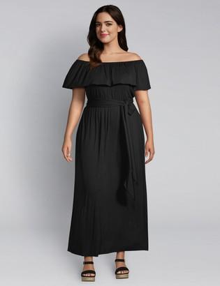 Lane Bryant Off-The-Shoulder Belted Maxi Dress
