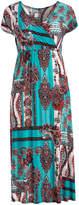 Glam Jade, White & Brown Floral Paisley Surplice Dress - Plus