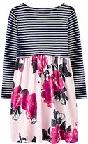 Joules Little Joule Girls' Stripe Floral Print Dress, Rose