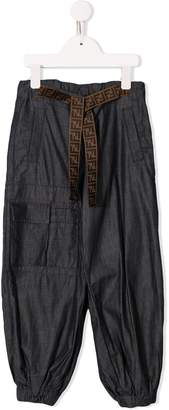 Fendi logo belt track pants