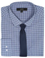 George Blue Check Print Shirt and Tie Set