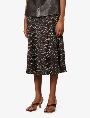 Samsoe & Samsoe Alsop spot-print woven midi skirt