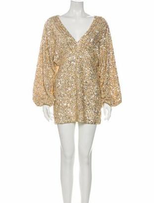 retrofete V-Neck Mini Dress Gold