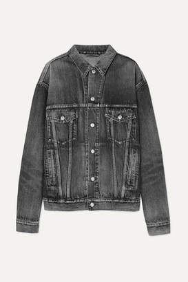 Balenciaga Oversized Logo-embossed Denim Jacket - Gray